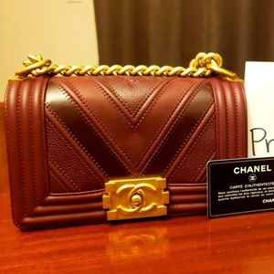 1ac57d7507e9 Authentic CHANEL BOY CHEVRON MIXED LEATHER Maroon